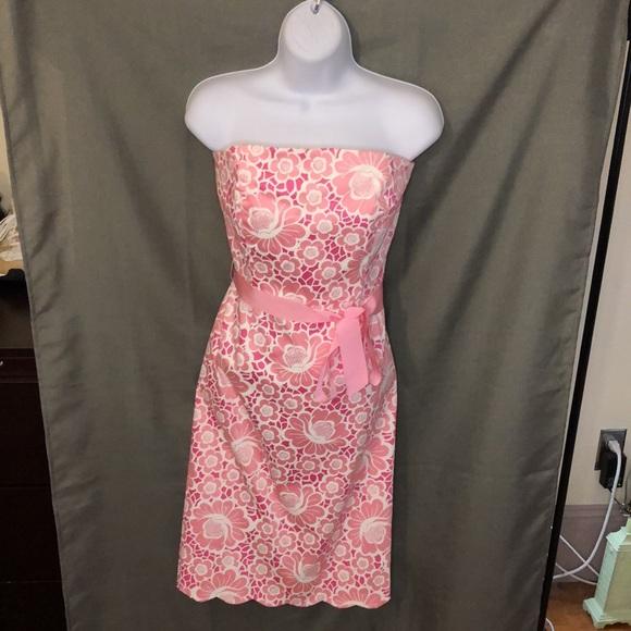Vintage Lilly Pulitzer Floral Strapless Dress
